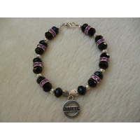 Black Silver Purple Sparkle Diabetic Charm Bracelet