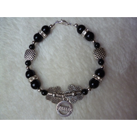 Black Silver Flowers Beaded Diabetic Charm Bracelet