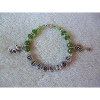 Green Silver Teddy Bear Key Girls Diabetic Charm Bracelet