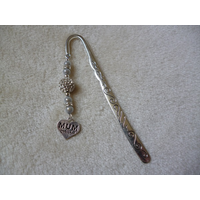 Silver White Sparkle Heart Mum Charm Bookmark
