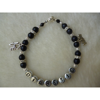 Black Silver Love Hope Diabetic Charm Bracelet