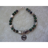 Green Purple Splatter Beaded Diabetic Charm Bracelet