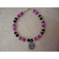 Pink Drawbench Black Beaded Diabetic Charm Bracelet