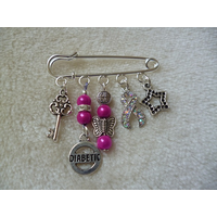 Hot Pink Silver Diabetic Kilt Pin Brooch