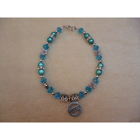 Blue Silver Beaded Roses Diabetic Charm Bracelet