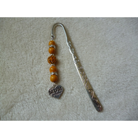 Silver Yellow Heart Mum Charm Bookmark
