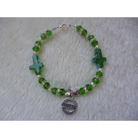 Green Sparkle Mille Fiore Cross Heart Diabetic Charm Bracelet
