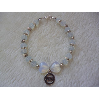 White Moonstone Sparkle Hearts Diabetic Charm Bracelet