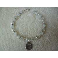 Clear Crackle Diabetic Charm Bracelet