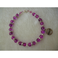 Pink Silver Drawbench Beaded Diabetic Charm Bracelet
