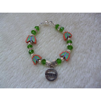 Girls Orange Green Butterflies Diabetic Charm Bracelet