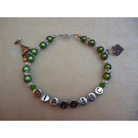 Green Cocktail Glass Heart Padlock Diabetic Charm Bracelet