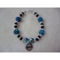 Black Sparkle Green Shambala Hearts Diabetic Charm Bracelet