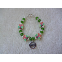 Girls Green Orange Butterfly Diabetic Charm Bracelet