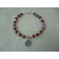 Purple Silver Sparkly Beaded Diabetic Charm Bracelet