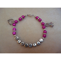 Hot Pink Heart Ribbon Diabetic Charm Bracelet