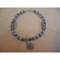 Blue Silver Cross Diabetic Charm Bracelet