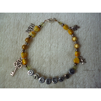 Yellow Silver Hope Key Toadstool Star Diabetic Charm Bracelet