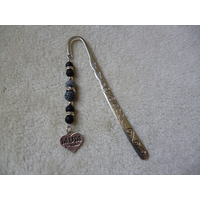 Silver Black Heart Mum Charm Bookmark