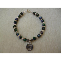 Green Paint Fleck Beads Hearts Diabetic Charm Bracelet
