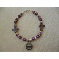 Purple Silver Mille Fiore Crosses Hearts Diabetic Charm Bracelet