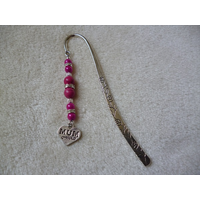 Silver Hot Pink Mum Heart Charm Bookmark
