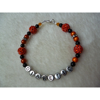 Orange Silver Shambala Beaded Diabetic Bracelet