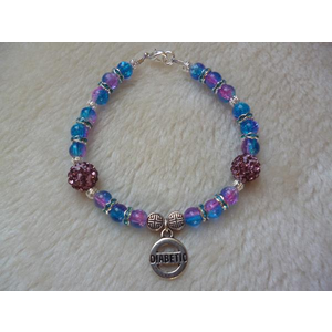 Blue/Pink Crackle Purple Shambala Diabetic Charm Bracelet