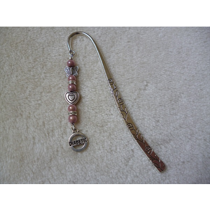 Silver Pink Heart Butterfly Diabetic Charm Bookmark