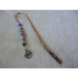 Silver Rainbow Heart Diabetic Charm Bookmark