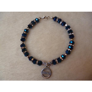 Midnight Blue Sparkle Hearts Diabetic Charm Bracelet