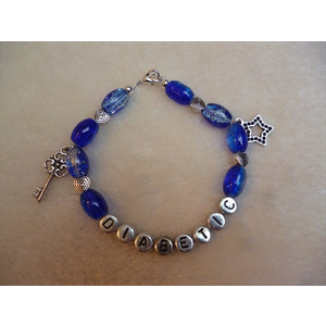 Blue Crackle Star Key Diabetic Charm Bracelet