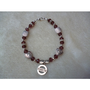 Dark Pink Hearts Chequered Diabetic Charm Bracelet