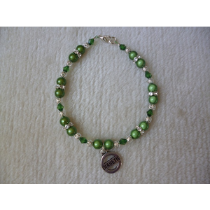 Green Silver Beaded Diabetic Charm Bracelet