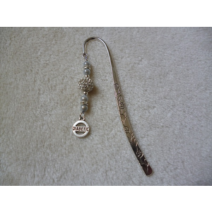 Silver White Sparkle Diabetic Charm Bookmark
