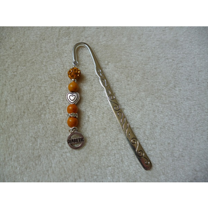 Silver Yellow Heart Diabetic Charm Bookmark