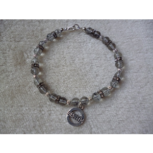 Whilte Clear Silver Drawbench Beaded Diabetic Charm Bracelet