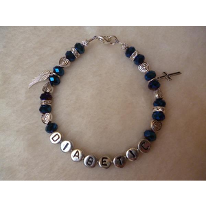 Midnight Blue Angel Wing Cross Diabetic Charm Bracelet