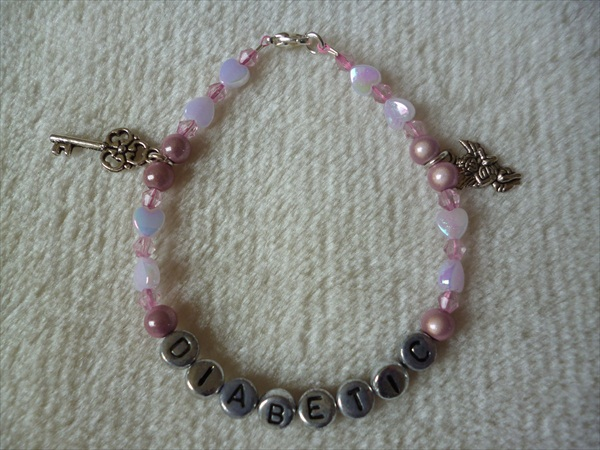 Pink Silver Angel Key Hearts Diabetic Charm Bracelet