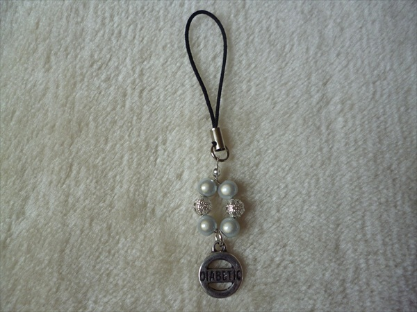 White Silver Diabetic Mobile Phone Charm