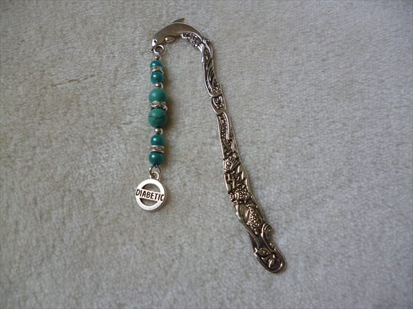 Silver Blue Dolphin Diabetic Charm Bookmark
