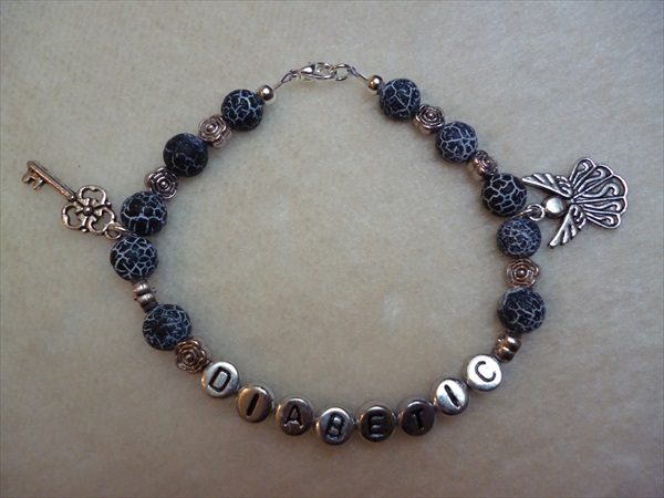 Black Crackle Angel Key Diabetic Charm Bracelet