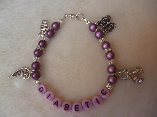Purple Pink Butterfly Hope Angel Wing Ribbon Diabetic Bracelet