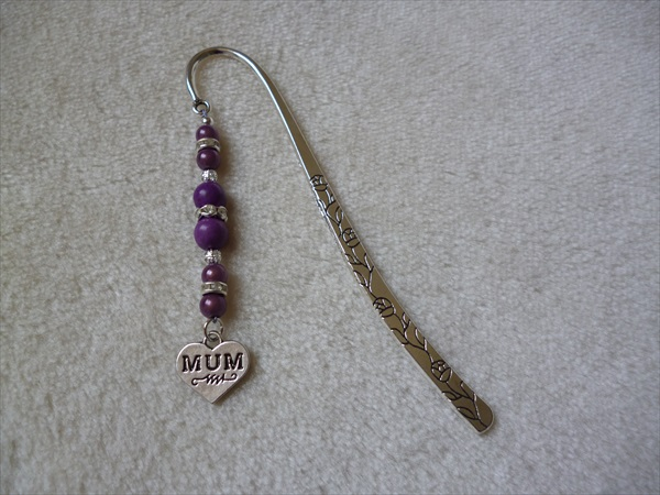 Silver Purple Heart Mum Charm Bookmark