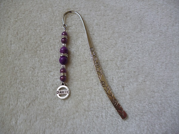 Silver Purple Sparkle Diabetic Charm Bookmark