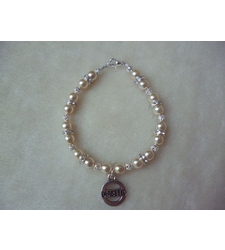 Cream Pearl Beaded Diabetic Charm Bracelet