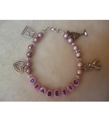 Pink Cocktail Glass Handbag Heart Ribbon Diabetic Charm Bracelet