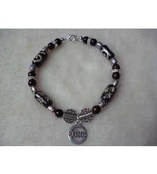 Brown Silver Swirl Star Diabetic Charm Bracelet