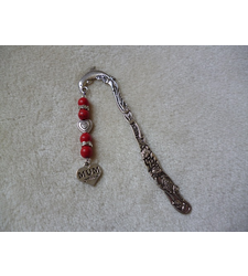Silver Red Dolphin Heart Mum Charm Bookmark