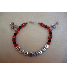Red Black Silver Angel Key Diabetic Charm Bracelet
